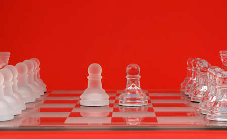 Photo of a chess match with a red background Stock Photo - 742147