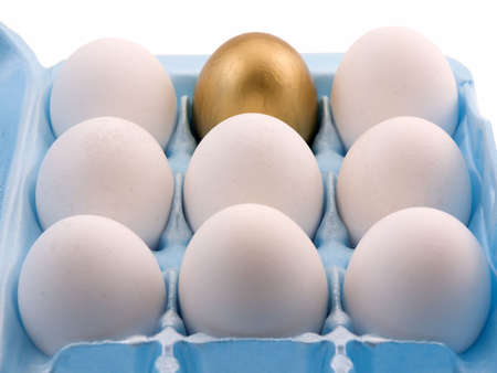 Photo of a golden egg in a egg carton with other eggs