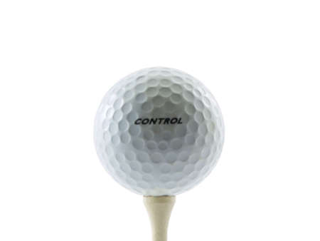Photo of a golfball with the word control on it set on a tee, isolated on white Stock Photo