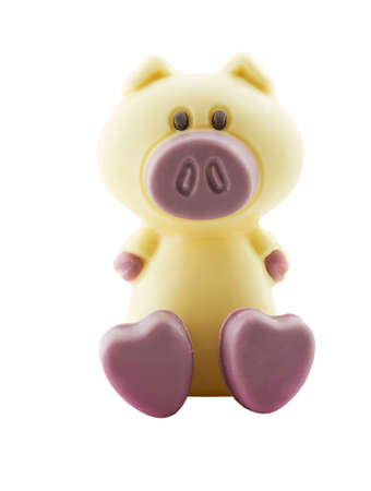 Foto eines isolierten Schokolade Schwein auf weißem  Standard-Bild - 796033