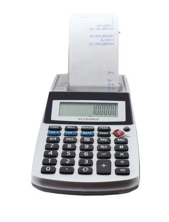 Photo of a ten key tax calculator isolated on white Stock Photo - 796046
