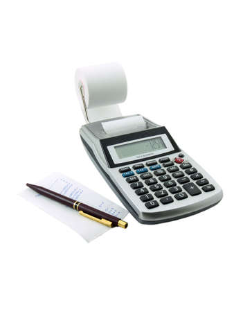 Photo of a tax calculator with a paper slip and pen next to it, isolated on white Stock Photo
