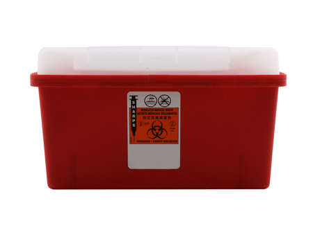 biohazard: Photo of a sharps container isolated on white