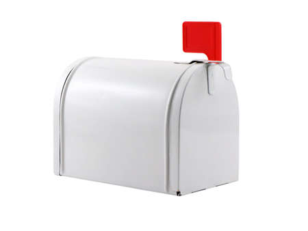 Photo of a mailbox with a red flag isolated on white