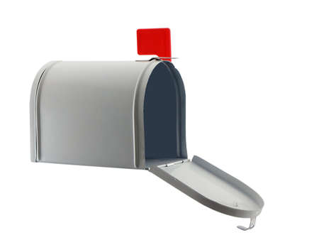 Photo of an open mailbox isolated on white Stock Photo