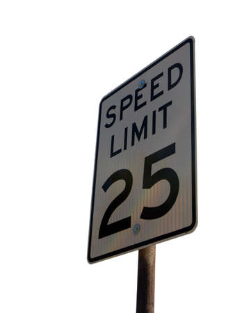 Photo of a speed limit sign isolated on white