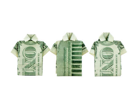 Photo of t-shirts made out of folded dollar bills