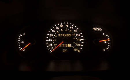 Photo of a lit up speedometer