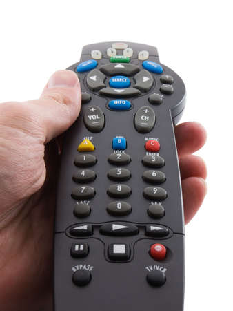 Photo of a hand holding a remote control, isolated on white