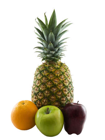 Photo of two apples, an orange, and a pineapple isolated on white