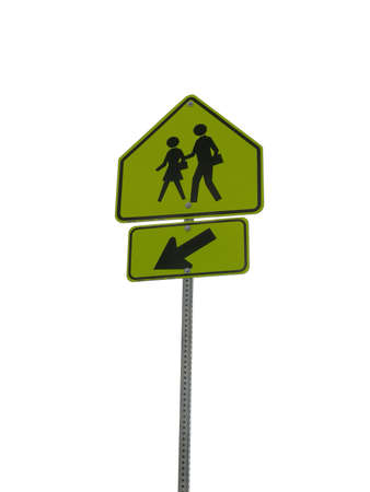 Photo of a crosswalk sign isolated on white Imagens