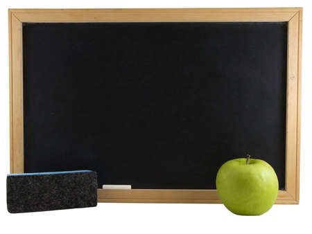 Chalkboard, apple, and eraser isolated on white background photo