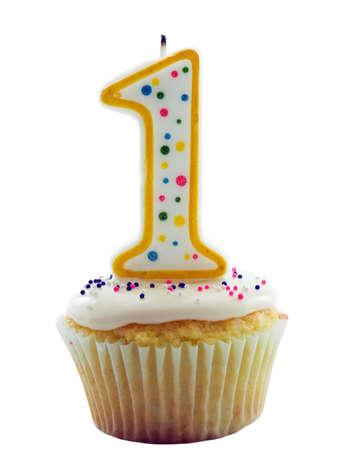 誕生日、記念日や他のそれに番号を 1 つのキャンドルとケーキ
