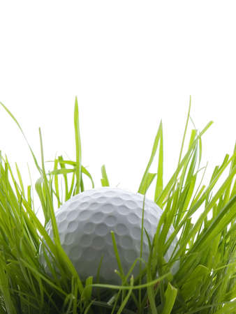 ruff: Golf ball in tall grass or ruff, isolated on white