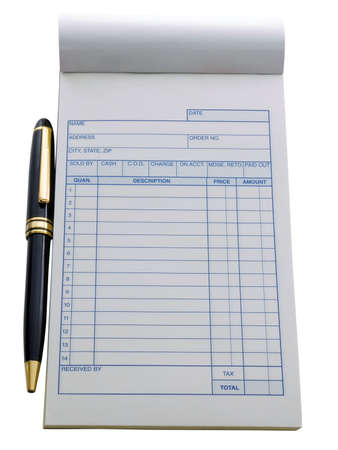 Blank purchase order with pen near it, isolated on white