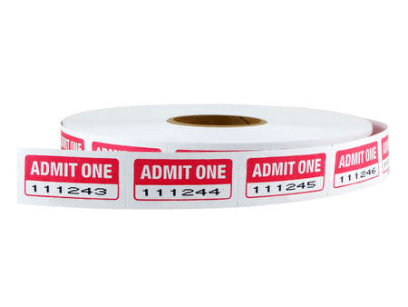 admit one: Roll of admit one tickets isolated on white