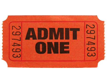 Macro photo of an admit one ticket
