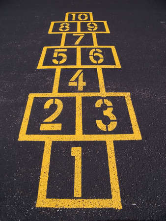 Hopscotch squares on blacktop photo