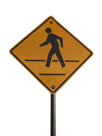 Crosswalk sign isolated on a white background Stock Photo