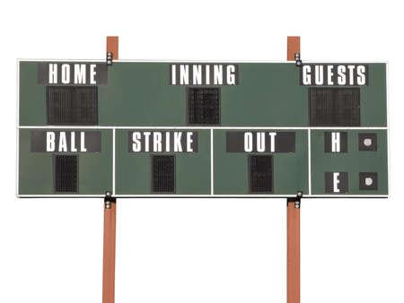 白い背景上に分離されて野球のスコアボード