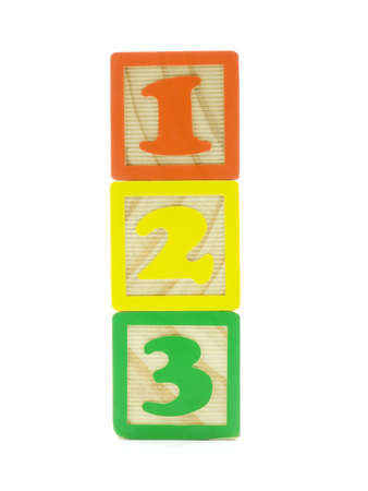 One, two, and three on wood toy blocks isolated on white Stock Photo - 1296772