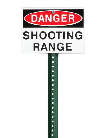 posting: Shooting range sign isolated on a white background