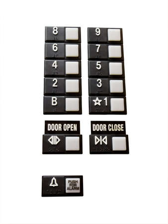 Elevator control buttons isolated on white Archivio Fotografico