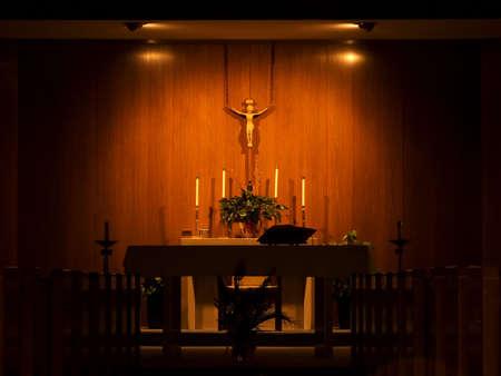 dimly: Dimly lit church alter