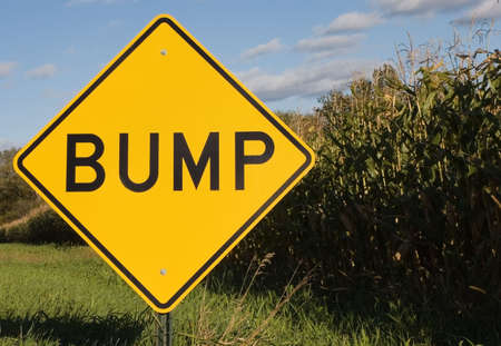 bumps: Bump road sign next to cornfield