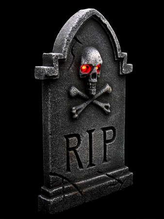黒バック グラウンドで分離された廃棄 (tombstone) 写真素材