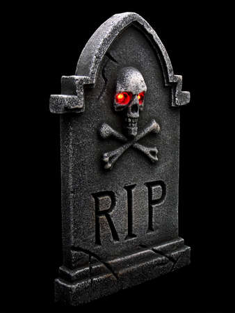 Tombstone isolated on a black back ground Stock Photo