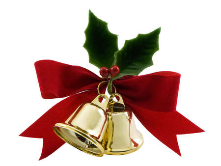 Christmas bells, holly and a red bow isolated on white Archivio Fotografico