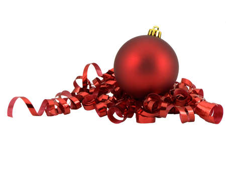 Christmas ornament on curled red ribbon, isolated on white