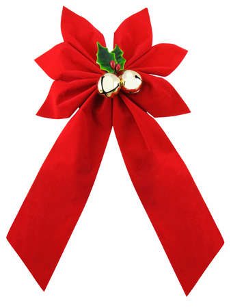 Red christmas bow with bells and holly, isolated on white