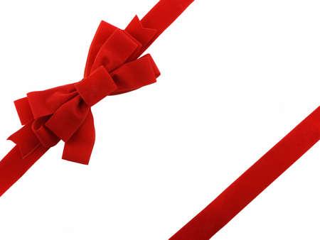 白い背景で隔離赤いクリスマスの弓