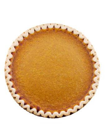 白い背景に分離したカボチャのパイ