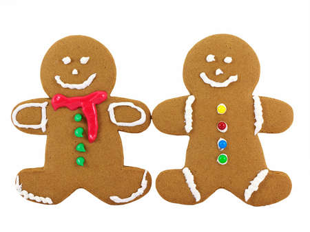 Two gingerbread cookies isolated on a white background photo