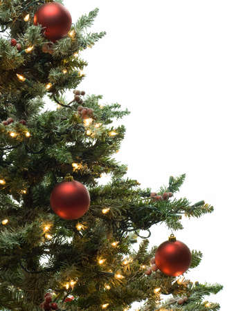 Half of decorated christmas tree isolated on white