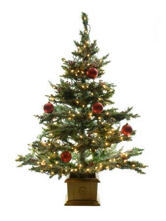 白い背景で隔離された飾られたクリスマス ツリー