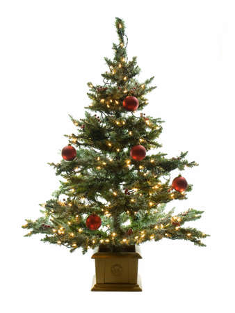 Decorated christmas tree isolated on a white background Archivio Fotografico