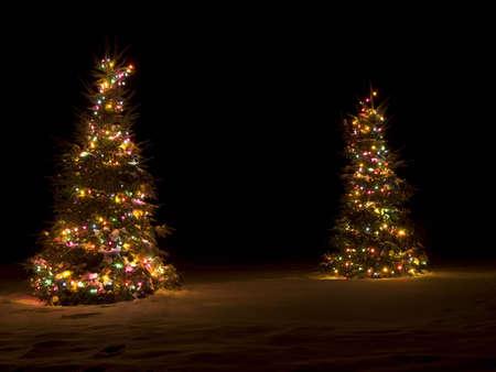 外は雪の中のクリスマス ツリーのライトアップ 写真素材