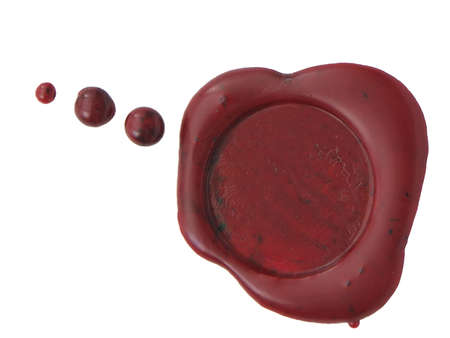 Red wax seal to close envelopes, letters, or contracts. Isolated on white Stok Fotoğraf