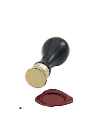 Wax seal being applied with stamper, isolated on white