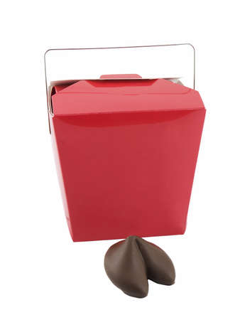leftovers: Chocolate covered fortune cookie and take-out box isolated on white