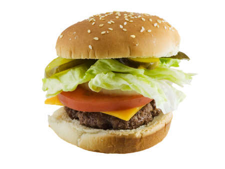 Cheeseburger with lettuce, onion, and tomatoes isolated on white Stock Photo