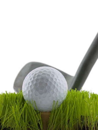 struck: Golf ball about to be struck by a golf club