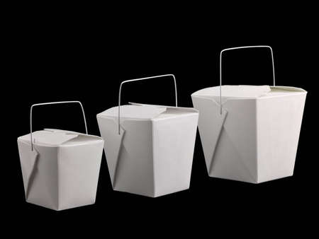 Three different sized chinese take-out containers isolated on black photo