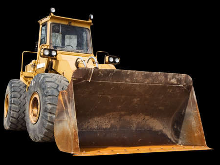 Front-end loader isolated on a black background