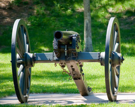 Old artillery cannon on wheels