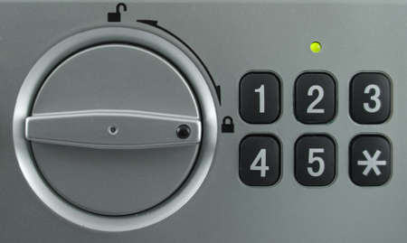 Security lock keypad with the knob in the lock position